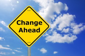 yellow change ahead road sign