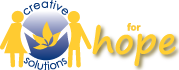 cs4hope logo is 2 children holding hands as a golden flower stands between them with a blue globe as a background